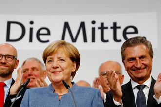 Канцлер ФРГ Ангела Меркель после объявления результатов первых экзит-поллов на выборах в Бундестаг, 24 сентября 2017 года
