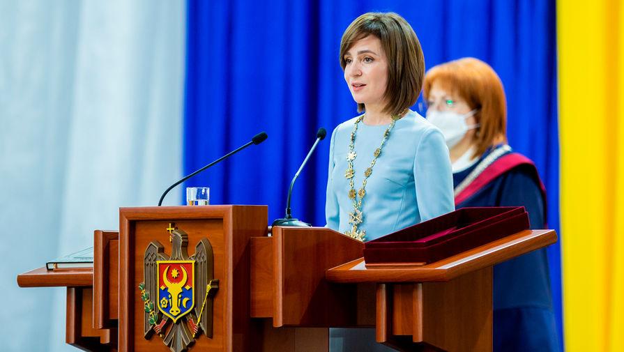 Избранный президент Молдавии Майя Санду во время церемонии инаугурации в Кишиневе, 24 декабря 2020 года