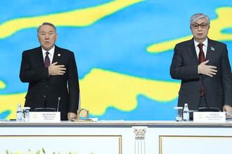 Президент Казахстана Нурсултан Назарбаев и председатель Сената парламента Казахстана Касым-Жомарт Токаев во время съезда партии «Нур Отан» в Астане, 27 февраля 2019 года
