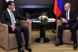 Президент Сирии Башар Асад и президент России Владимир Путин во время встречи в Сочи, 20 ноября 2017 года