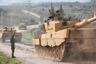 Танки турецкой армии на сирийско-турецкой границе, 21 января 2018 года
