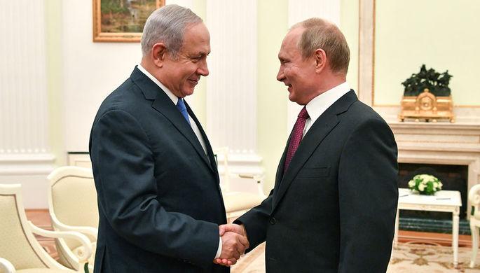 Премьер-министр Израиля Биньямин Нетаньяху и президент России Владимир Путин во время встречи в Кремле, 11 июля 2018 года