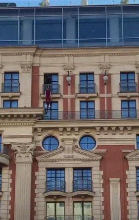 Кадр из трансляции с Тверской улицы в Москве, 13 сентября 2018 года