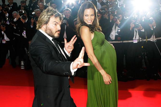 Джек Блэк и Анджелина Джоли на премьере «Кунг-фу Панды» в Каннах, 2008 год
