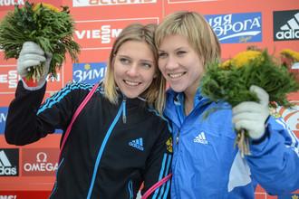 Елена Никитина (слева) и Мария Орлова первенствовали на чемпионате Европы по скелетону