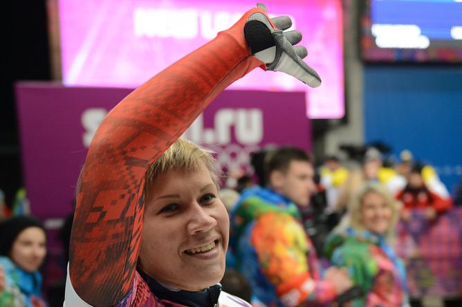 Мария Орлова (Россия) на финише в финальном заезде на соревнованиях по скелетону среди женщин на XXII зимних Олимпийских играх в Сочи