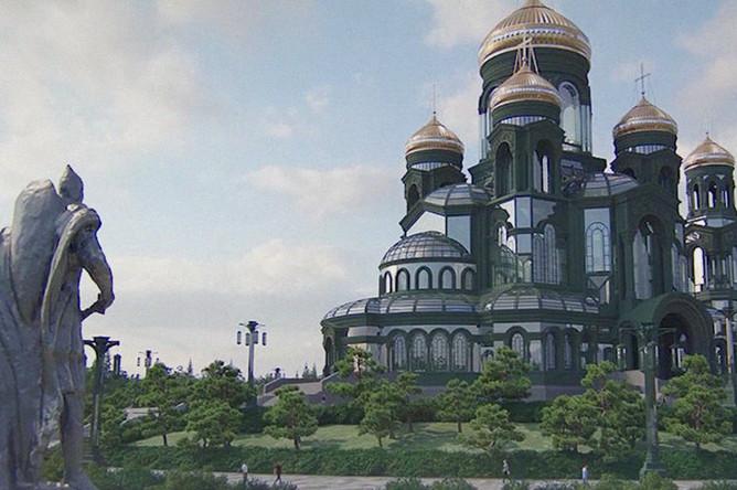 Рендер с изображением Главного храма ВС РФ, кадр из видео Минобороны России
