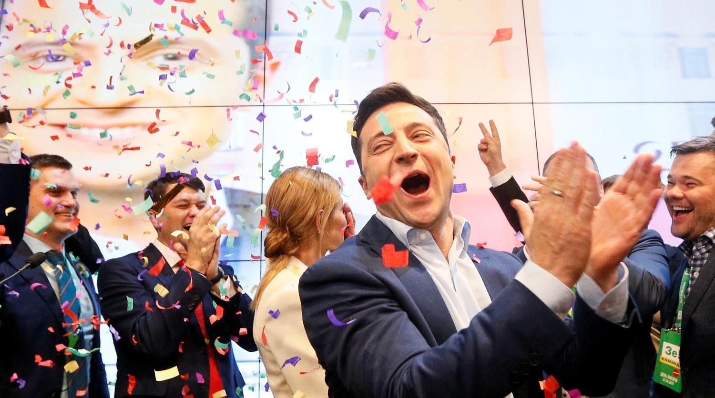 Штаб Владимира Зеленского после оглашения экзитполлов