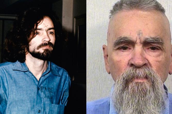Чарльз Мэнсон в 1970 году и 2014 году (справа)