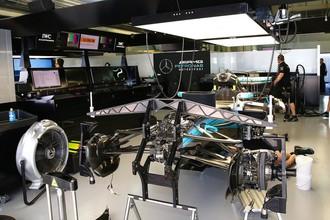 Боксы команды «Мерседес» перед Гран-при России в «Формуле-1»