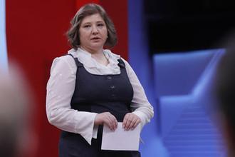 Виктория Скрипаль во время записи телешоу «Пусть говорят» в Москве, 7 апреля 2018 года