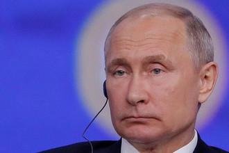 Президент России Владимир Путин на пленарном заседании Петербургского международного экономического форума, 7 июня 2019 года