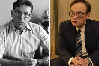 Академик Валерий Легасов и актер Джаред Харрис, сыгравший ученого в сериале «Чернобыль»
