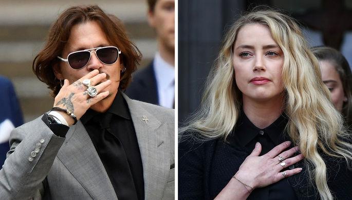 Джонни Депп и Эмбер Херд после заседания Высокого суда в Лондоне, 28 июля 2020 года, коллаж
