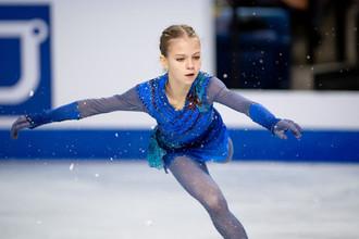 Российская фигуристка Александра Трусова в произвольной программе на этапе Гран-при Skate Canada