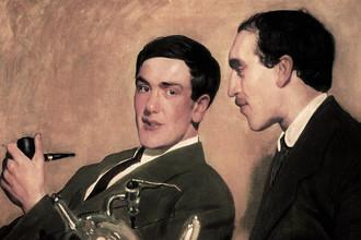 Николай Семёнов (справа) и Петр Капица (слева), портрет работы Кустодиева, 1921