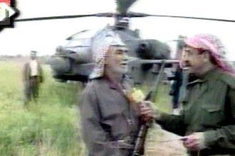 Интервью на фоне американского вертолета «Апач» на иракском телевидении, 24 марта 2003 года