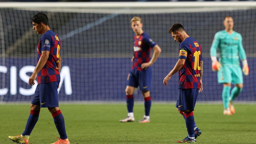 Игроки «Барселоны» Луис Суарез и Лионель Месси