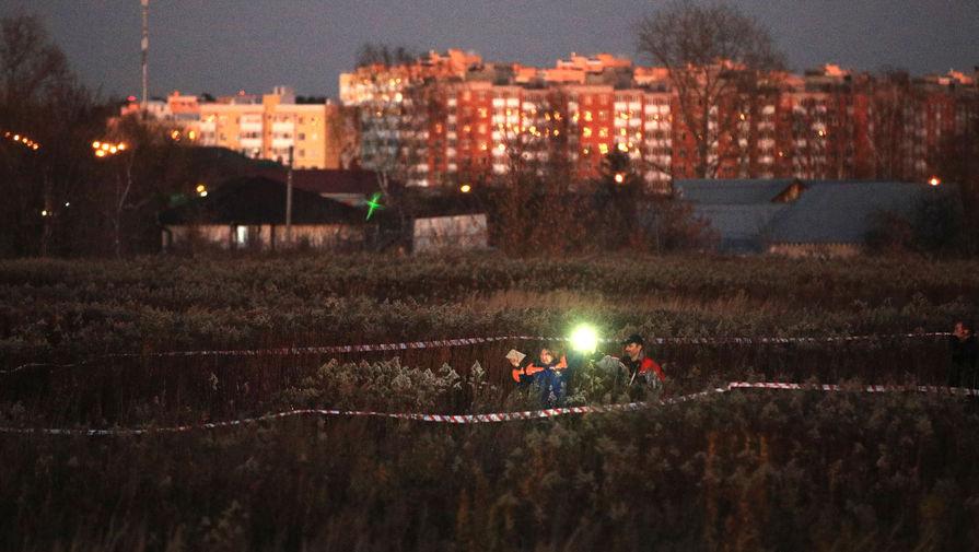 На месте крушения частного самолета Cessna возле поселка Чкалово в Подмосковье, 7 ноября 2020 года