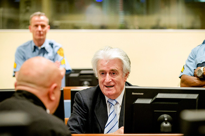 Радован Караджич во время вынесения приговора