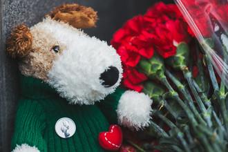 Москвичи несут цветы и мягкие игрушки в память о погибших в ТЦ «Зимняя вишня» к зданию представительства Кемеровской области в Москве, 26 марта 2018 года