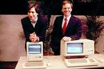 В1982году Стив Джобс познакомился сДжоном Скалли, который натот момент был президентом PepsiCo и прославился благодаря маркетинговой кампании Pepsi Challenge. Джобс был настолько впечатлен достижениями президента PepsiCo, что предложил ему возглавить Apple вместо себя, потому что совет директоров Apple считал, что Джобс слишком молод дляуправления созданной им же компании. Вместе сприглашением вApple он произнес свою знаменитую фразу: «Ты хочешь продавать сладкую воду доконца своей жизни или пойти со мной и изменить мир?». Старт продаж Macintosh Office, компьютера дляофисов наоснове оригинального Macintosh, был неудачным – Джобс считал цену в$2495неоправданно высокой и требовал от Скалли снижения на$500. Кроме того он требовал переноса рекламного бюджета сApple II наMacintosh. Скалли считал, что снижение цены и пересмотр рекламного бюджета невозможен – это стало причиной вражды междуДжобсом и Скалли, насторону которого встал совет директоров и вынудил Джобса сложить полномочия руководителя подразделения Macintosh. Позже Джобс сам покинул Apple.