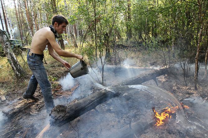 Доброволец тушит лесной пожар в Воронежской области в 2010 году