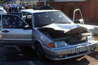Автомобиль, в котором был убит секретарь Совбеза Ингушетии Ахмед Котиев