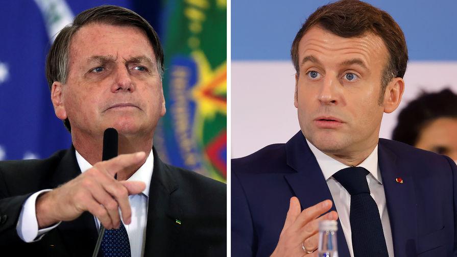 Президент Бразилии Жаир Болсонару и президент Франции Эмманюэль Макрон (коллаж)