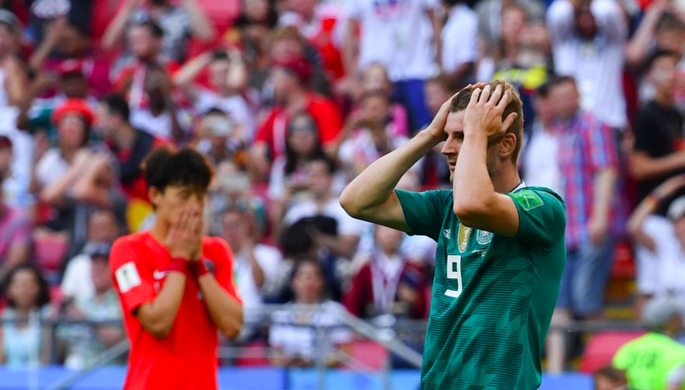 Во время матча группового этапа чемпионата мира по футболу между сборными Южной Кореи и Германии, 27 июня 2018 года