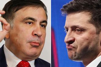 Михаил Саакашвили и Владимир Зеленский, коллаж «Газеты.Ru»