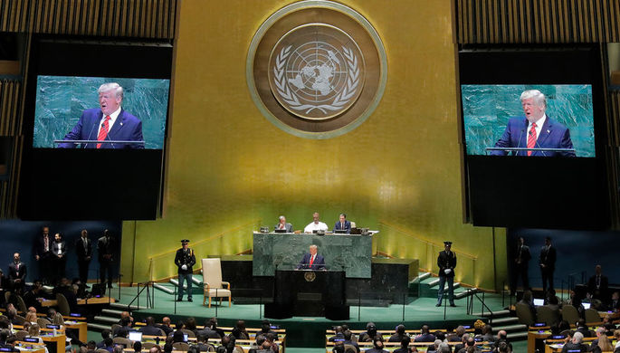 Президент США Дональд Трамп во время выступления на заседании Генассамблеи ООН в Нью-Йорке, 24 сентября 2019 года