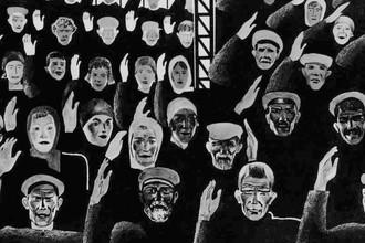 Александр Дейнека, «Постановили единогласно». Рисунок для журнала «Безбожник у станка». 1925