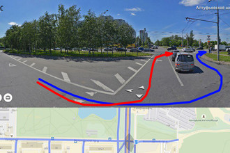 Схема движения автомобиля: красным цветом отмечен путь автомобилиста по мнению сотрудника ГИБДД, синим — по мнению автомобилиста