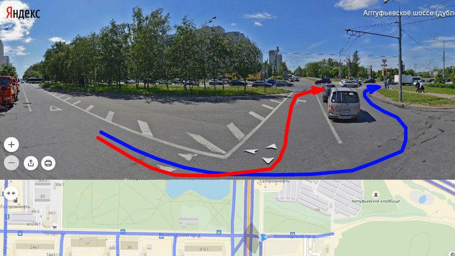 Схема движения автомобиля: красным цветом отмечен путь автомобилиста по мнению сотрудника ГИБДД...