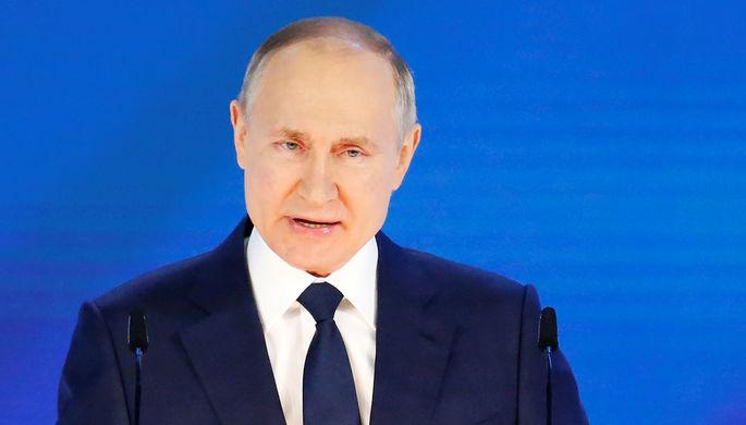 Президент России Владимир Путин выступает с ежегодным посланием Федеральному Собранию, 21 апреля 2021 года