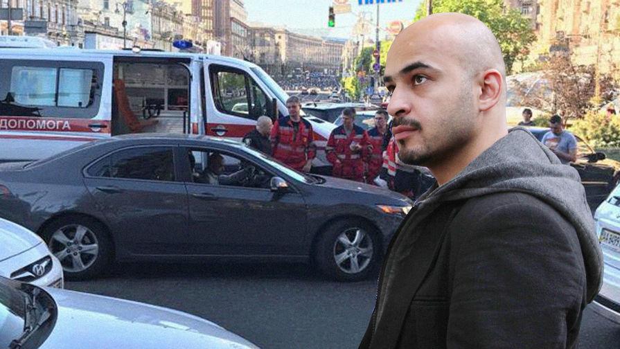 Украинский журналист Мустафа Найем и место происшествия, коллаж «Газеты.Ru»