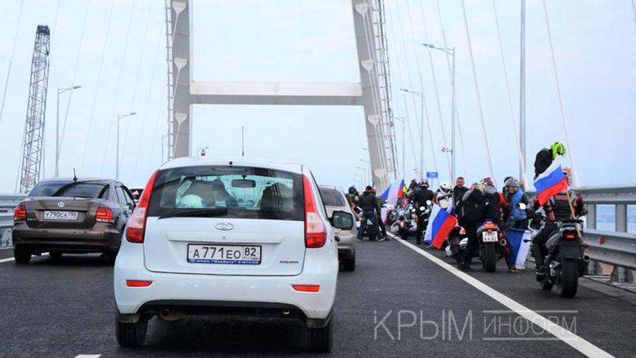 Во время открытия автомобильного движения по Крымскому мосту через Керченский пролив, 16 мая 2018...