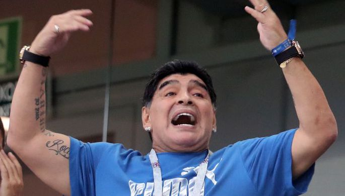 Эмоции Диего Марадоны во время матча Нигерия — Аргентина