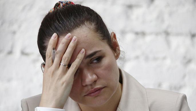 Кандидат в президенты Белоруссии Светлана Тихановская во время пресс-конференции в Минске по итогам выборов, 10 августа 2020 года