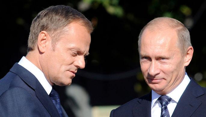 Дональд Туск и Владимир Путин, 2009 год