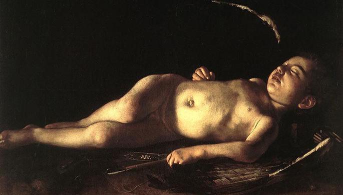 Меризи да Караваджо. Спящий Купидон. 1608