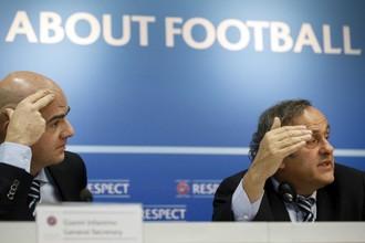 Президент УЕФА Мишель Платини и генсек Джанни Инфантино — авторы реформы европейского первенства