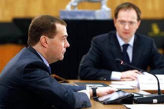 Премьер-министр РФ Дмитрий Медведев и министр культуры Владимир Мединский во время заседания правительственного совета по развитию отечественной кинематографии