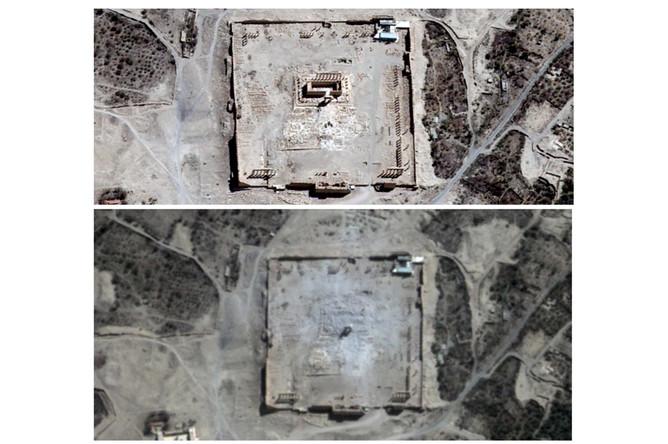 Храм Бэла до и после разрушения (спутниковый снимок)