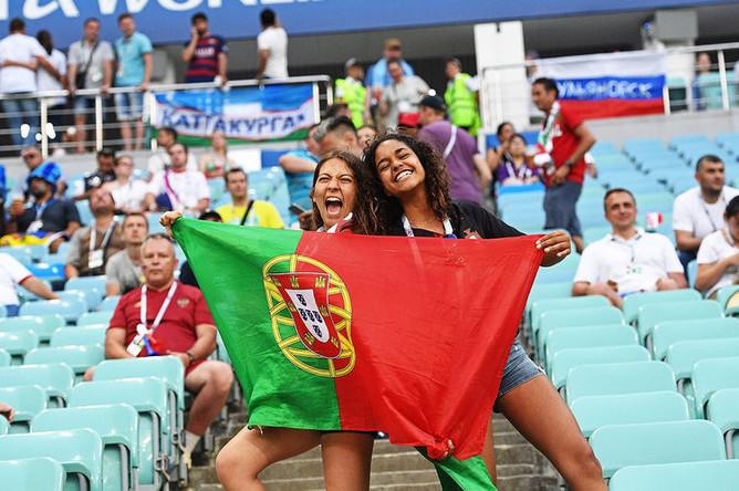 Во время матча 1/8 финала чемпионата мира по футболу между сборными Уругвая и Португалии, 30 июня 2018 года