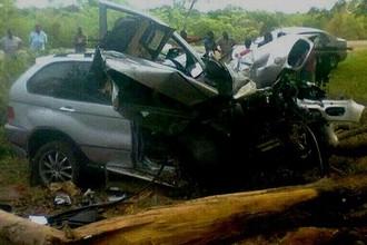 Автомобиль братьев Ндлову после аварии