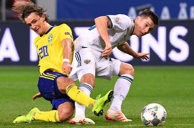 Во время матча Лиги наций УЕФА между сборными Швеции и России, 20 ноября 2018 года