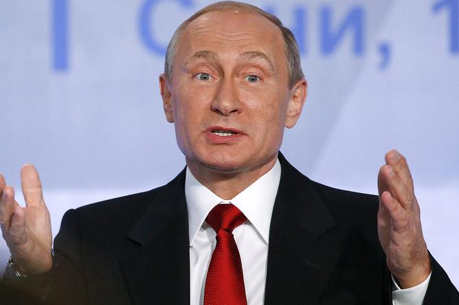 Владимир Путин выступает на итоговой пленарной сессии XII ежегодного заседания Международного дискуссионного клуба «Валдай» в гостиничном комплексе «Поляна.1389» в Сочи