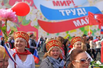 Участники первомайской демонстрации на Красной площади в Москве, 2018 год